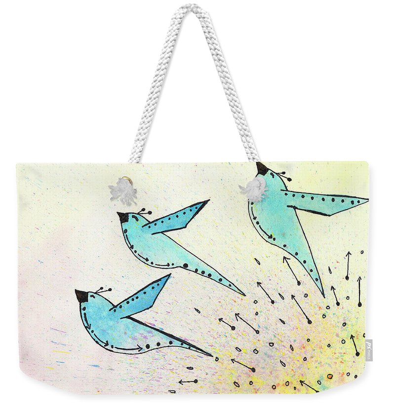 Blue Birds Weekender Tote Bag featuring the painting Blue Birds In Flight by Breanna Jacobs