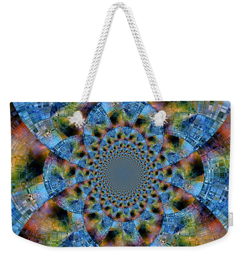 Abstract Weekender Tote Bag featuring the digital art Blue Bling by Ruth Palmer