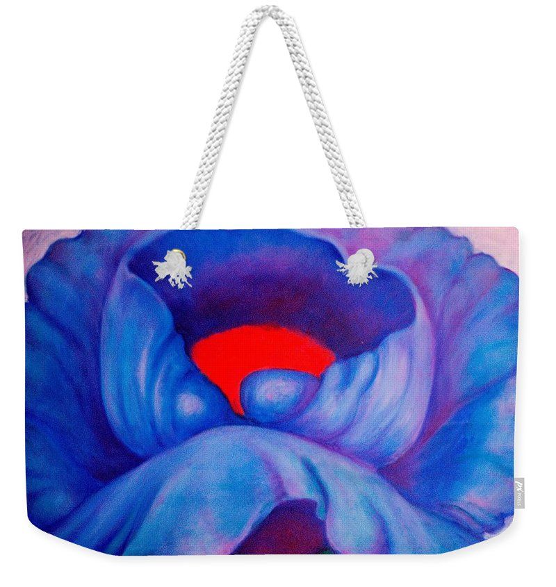 Blue Bloom Weekender Tote Bag featuring the painting Blue Bloom by Jordana Sands