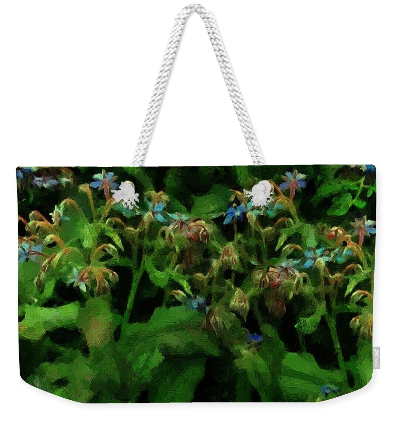Blossoms Weekender Tote Bag featuring the painting Blue Blossoms By Moonlight by RC DeWinter