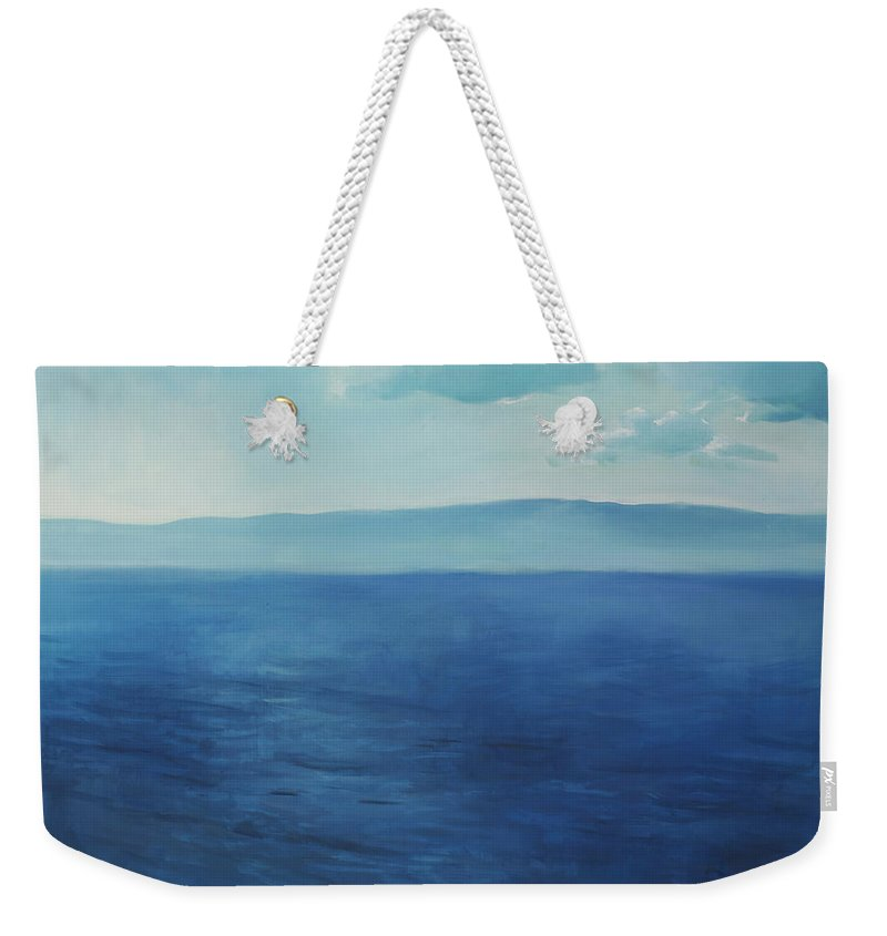 Lin Petershagen Weekender Tote Bag featuring the painting Blue Blue Sky Over The Sea by Lin Petershagen