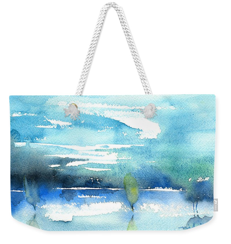 Impressionism Weekender Tote Bag featuring the painting Blue Blue The World Is Blue by Miki De Goodaboom