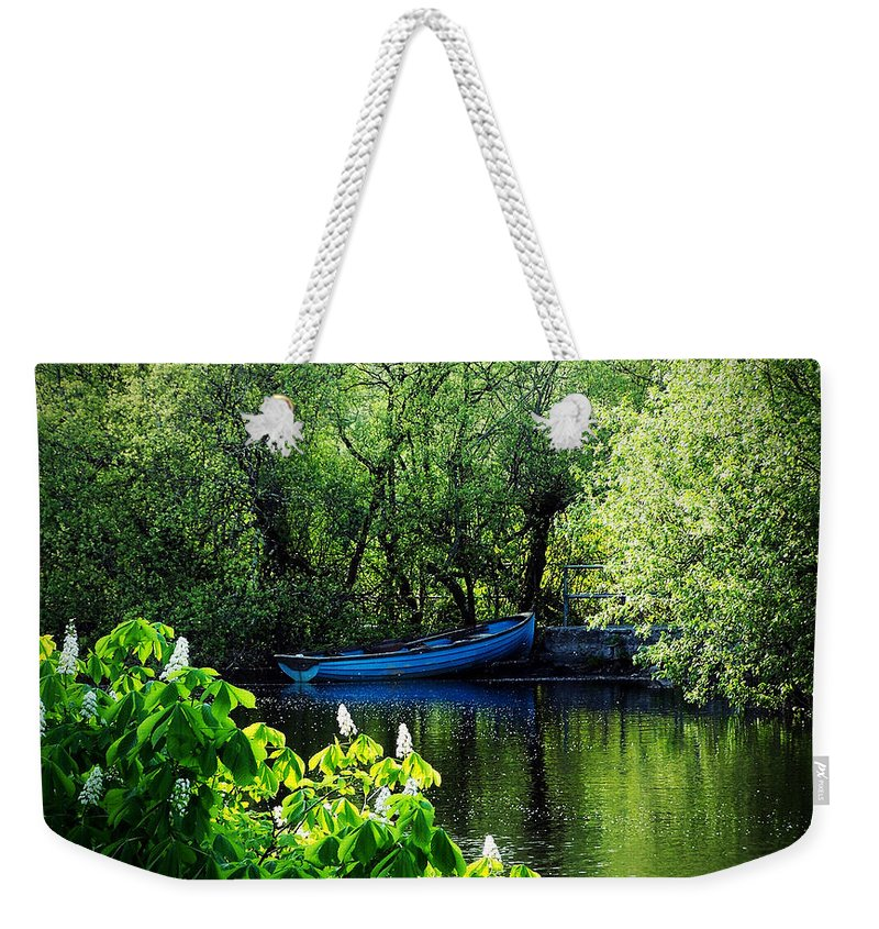 Irish Weekender Tote Bag featuring the photograph Blue Boat Cong Ireland by Teresa Mucha