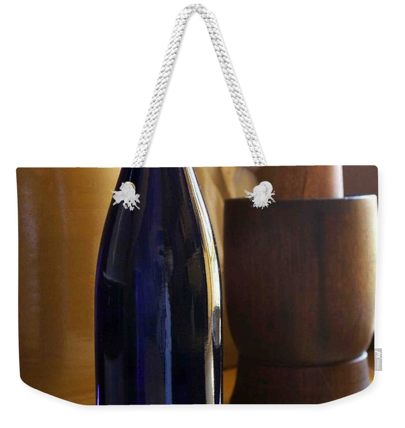 Still Life Weekender Tote Bag featuring the photograph Blue Bottle And Mortar by Nelson Strong