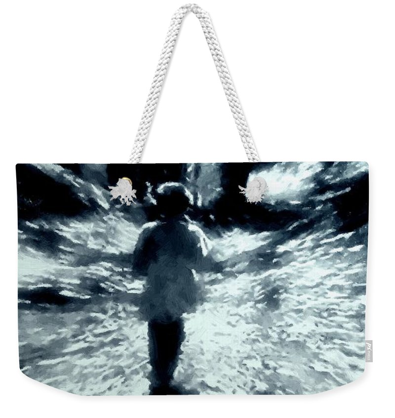 Blue Weekender Tote Bag featuring the painting Blue Boy Walking Into The Future by RC DeWinter