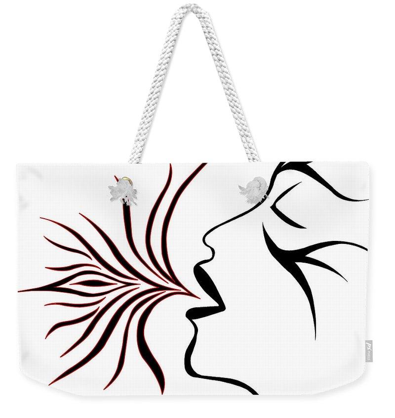 Weekender Tote Bag featuring the digital art Blue Breath by Jamie Lynn
