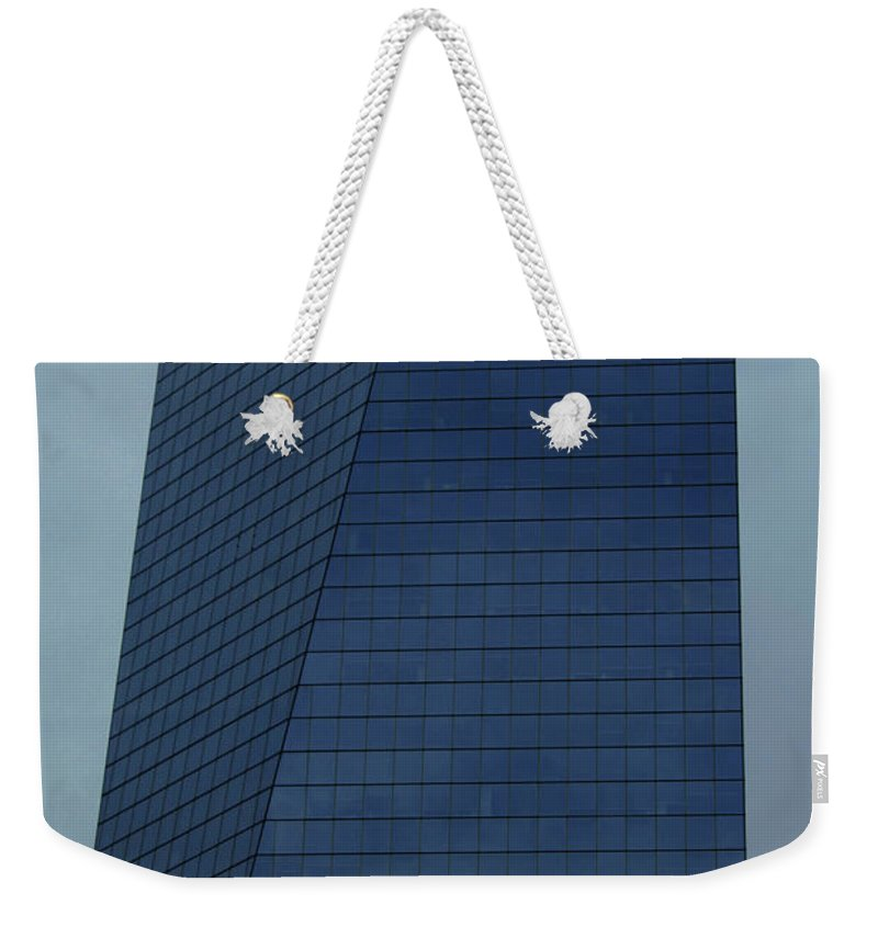 City Weekender Tote Bag featuring the photograph Blue Building by Linda Sannuti