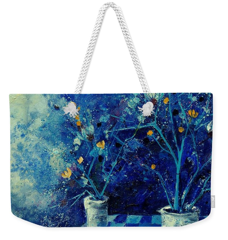 Flowers Weekender Tote Bag featuring the painting Blue Bunch by Pol Ledent