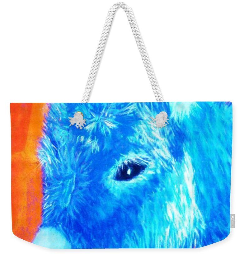 Burro Weekender Tote Bag featuring the painting Blue Burrito by Melinda Etzold