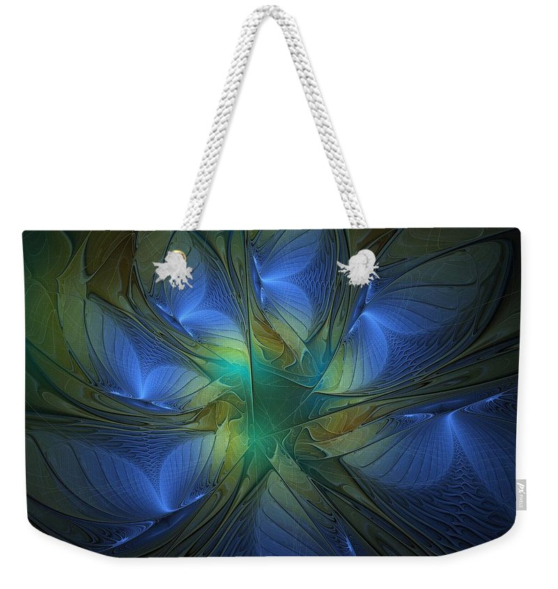 Digital Art Weekender Tote Bag featuring the digital art Blue Butterflies by Amanda Moore