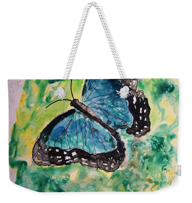 Wildlife Weekender Tote Bag featuring the painting Blue Butterfly by Derek Mccrea