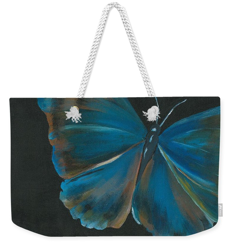 Butterfly Weekender Tote Bag featuring the painting Blue Butterfly by Sheli Paez