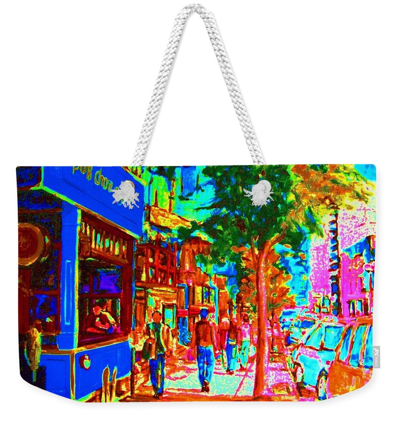 Cafes Weekender Tote Bag featuring the painting Blue Cafe In Springtime by Carole Spandau