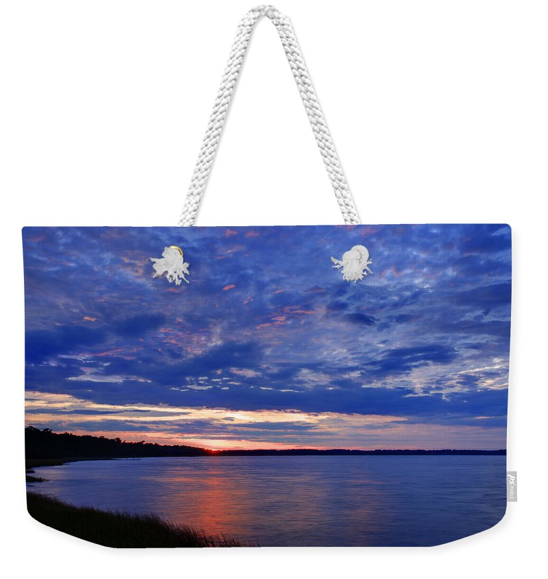 Blue Weekender Tote Bag featuring the photograph Blue Clouds by Phill Doherty