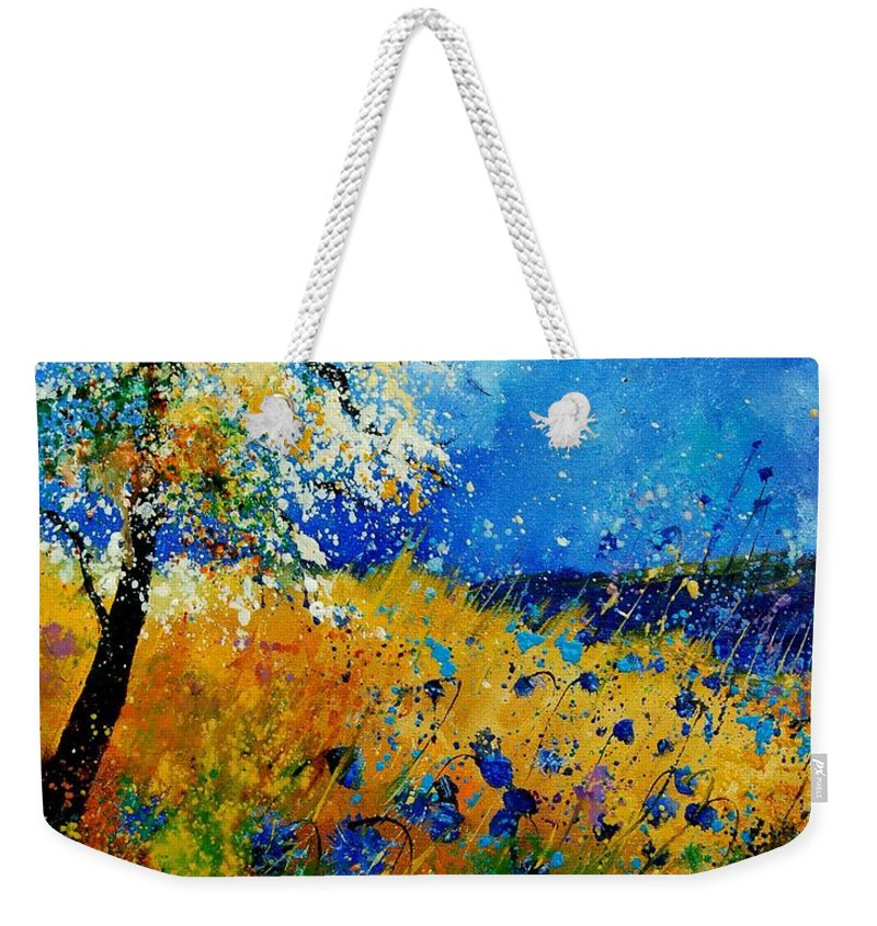 Poppies Weekender Tote Bag featuring the painting Blue cornflowers 450108 by Pol Ledent