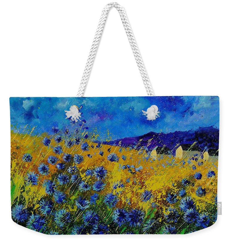 Poppies Weekender Tote Bag featuring the painting Blue Cornflowers by Pol Ledent