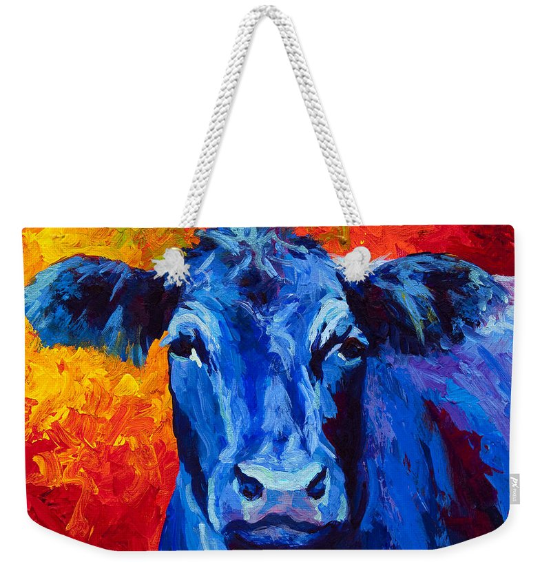 Marion Rose Weekender Tote Bag featuring the painting Blue Cow II by Marion Rose