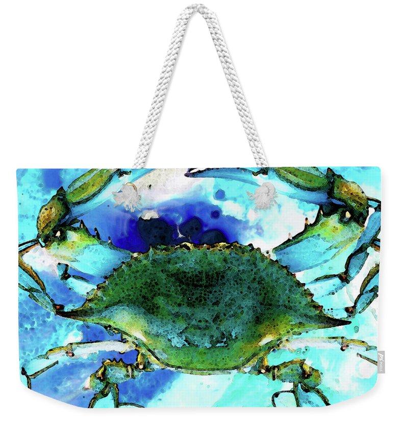 Blue Crab - Abstract Seafood Painting Weekender Tote Bag