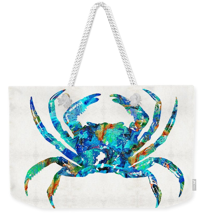 Crab Weekender Tote Bag featuring the painting Blue Crab Art By Sharon Cummings by Sharon Cummings