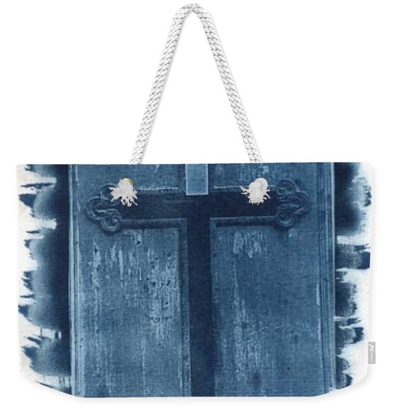 Cyanotype Weekender Tote Bag featuring the photograph Blue Cross by Jane Linders