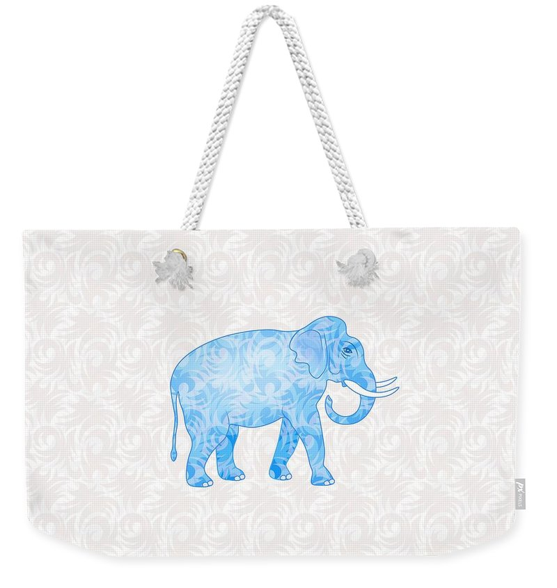 Elephant Weekender Tote Bag featuring the digital art Blue Damask Elephant by Antique Images