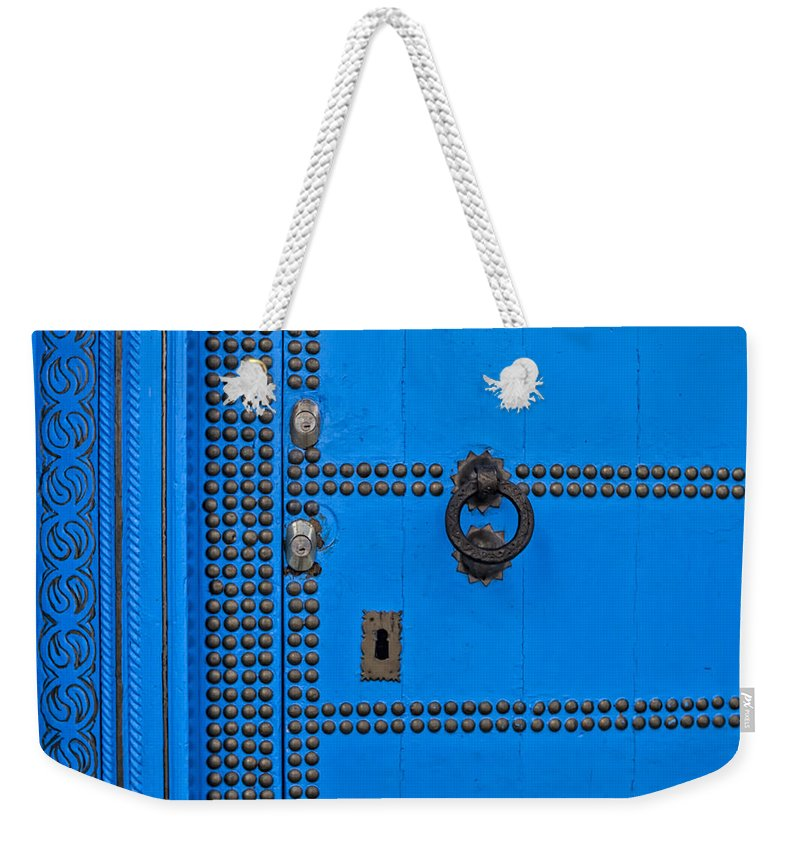 Chefchaouen Weekender Tote Bag featuring the photograph Blue Door Accents by Lindley Johnson