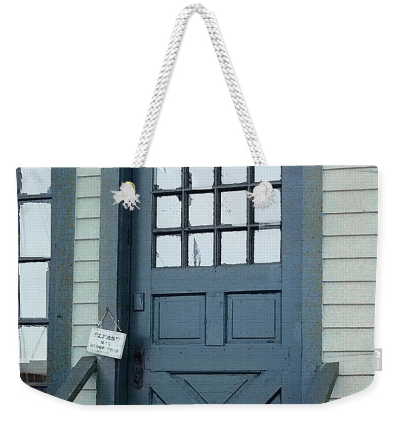 Door Weekender Tote Bag featuring the painting Blue Door At The Seaport by RC DeWinter