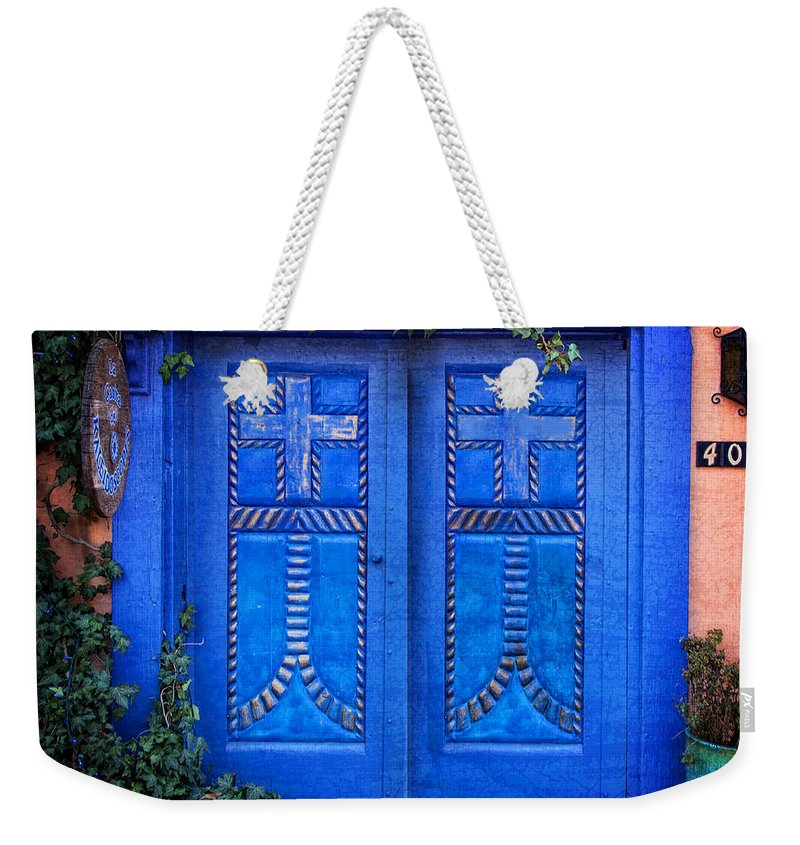 Old Town Albuquerque Weekender Tote Bag featuring the photograph Blue Door In Old Town by Diana Powell