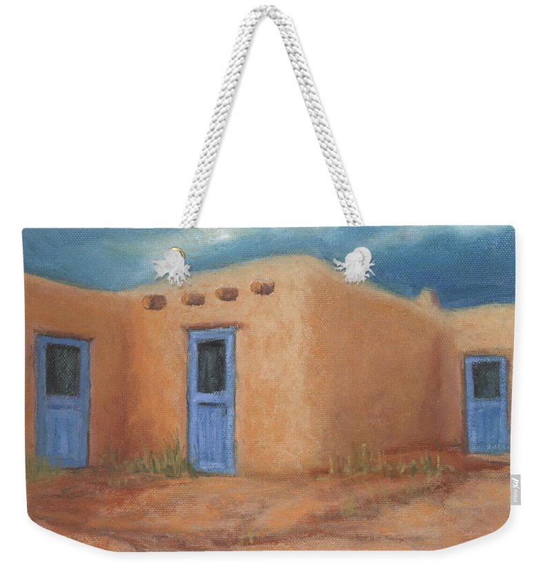 Taos Weekender Tote Bag featuring the painting Blue Doors in Taos by Jerry McElroy