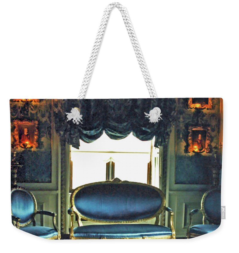 Castle Weekender Tote Bag featuring the digital art Blue Drawing Room by DigiArt Diaries by Vicky B Fuller