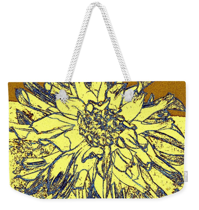 Abstract Weekender Tote Bag featuring the digital art Blue-edged Dahlia by Will Borden