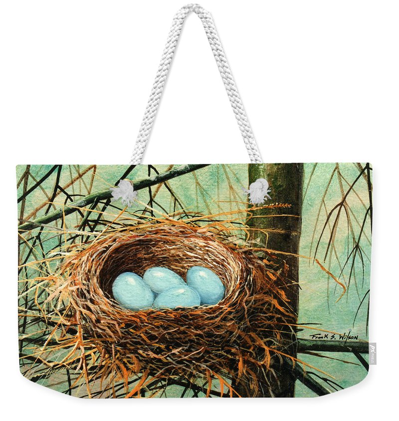 Wildlife Weekender Tote Bag featuring the painting Blue Eggs In Nest by Frank Wilson