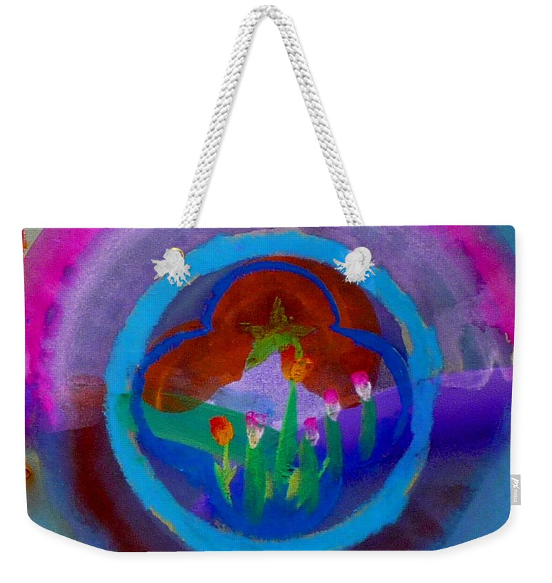 Love Weekender Tote Bag featuring the painting Blue Embrace by Charles Stuart