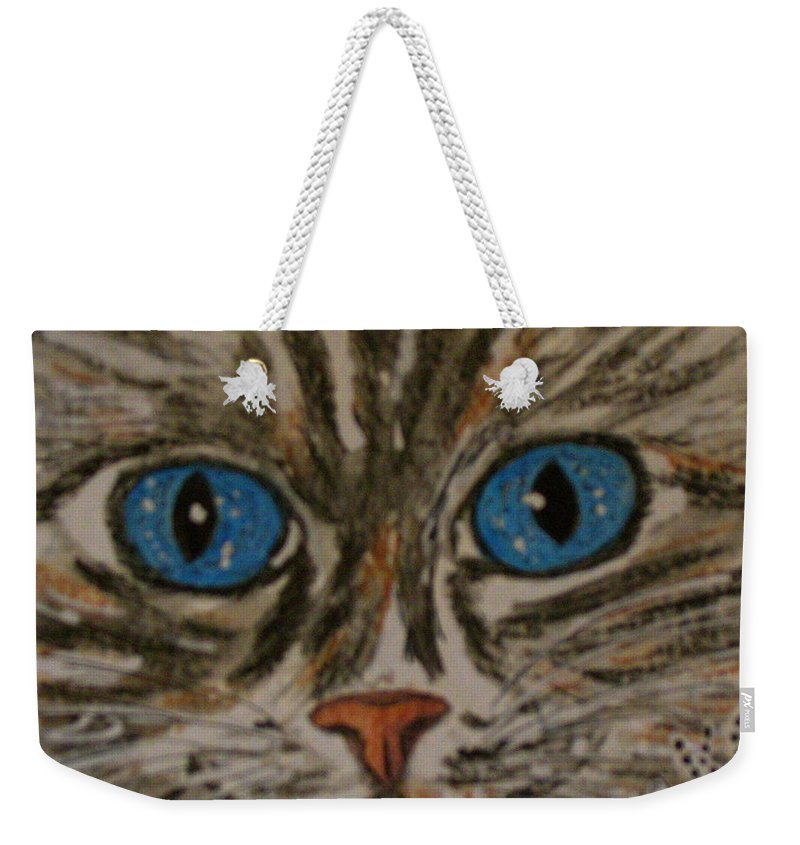 Blue Eyes Weekender Tote Bag featuring the painting Blue Eyed Tiger Cat by Kathy Marrs Chandler