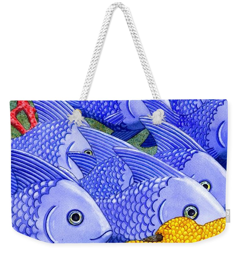 Fish Weekender Tote Bag featuring the painting Blue Fish by Catherine G McElroy