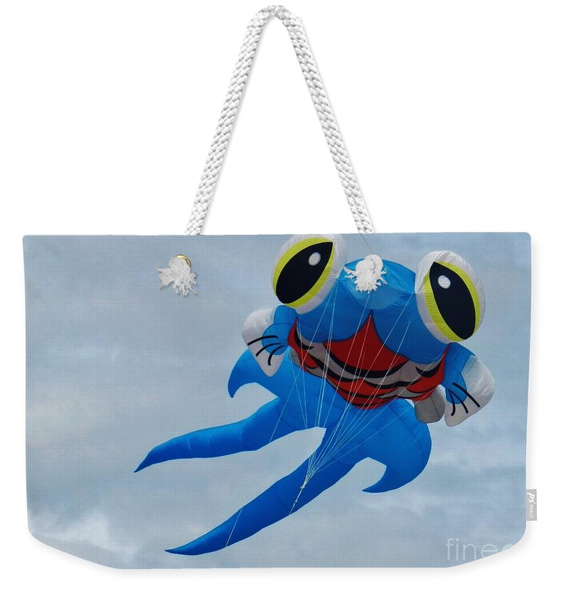 Blue Fish Weekender Tote Bag featuring the photograph Blue Fish Kite by Snapshot Studio