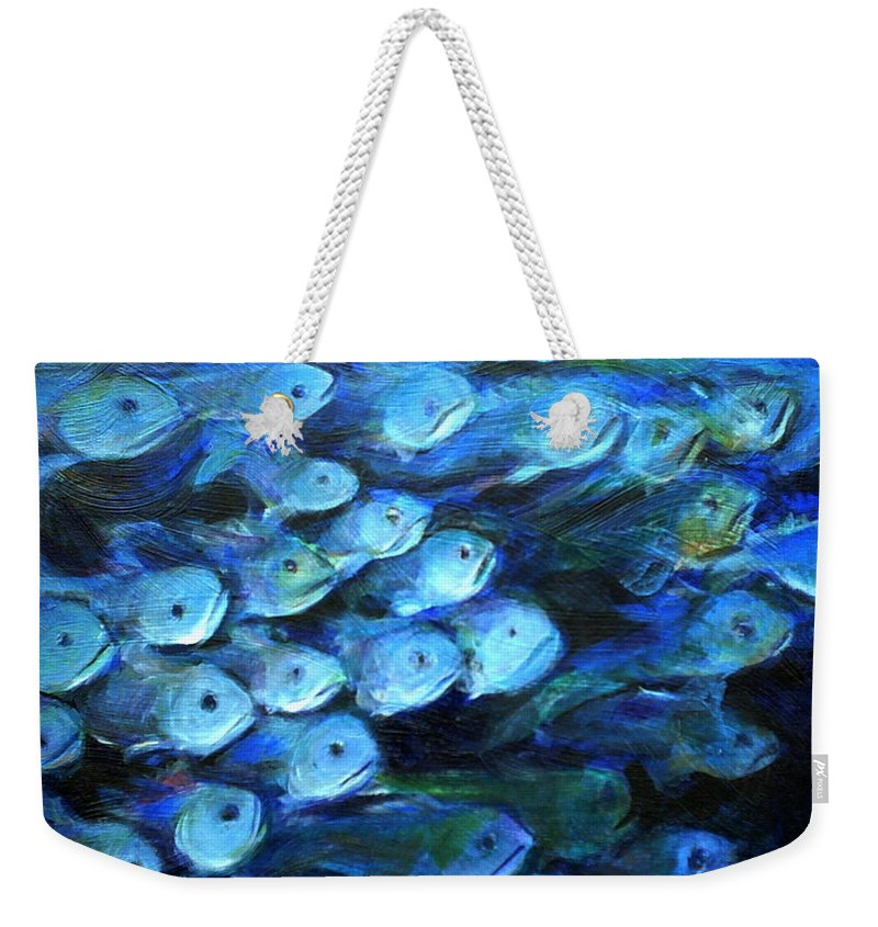 Blue Weekender Tote Bag featuring the painting Blue Fish by Nanci Cook
