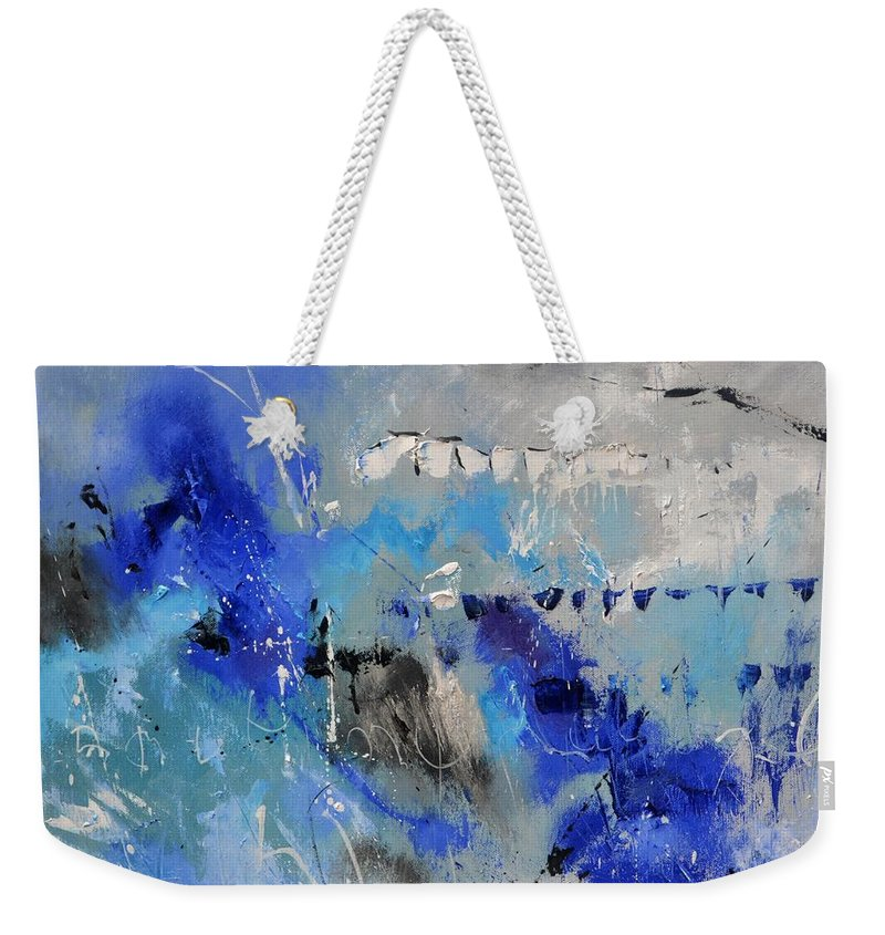 Abstract Weekender Tote Bag featuring the painting Blue Flight Abstract by Pol Ledent