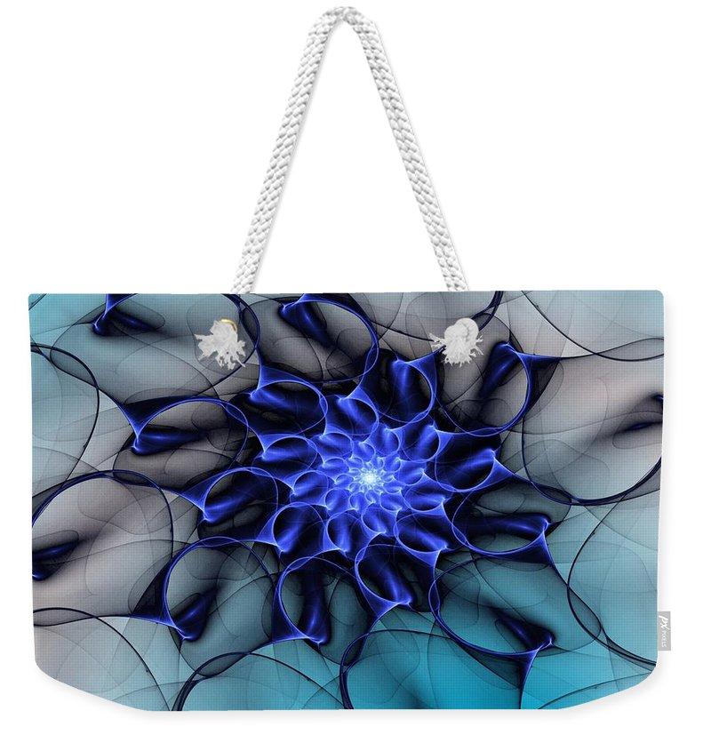 Fine Art Weekender Tote Bag featuring the digital art Blue Floral 083010 by David Lane