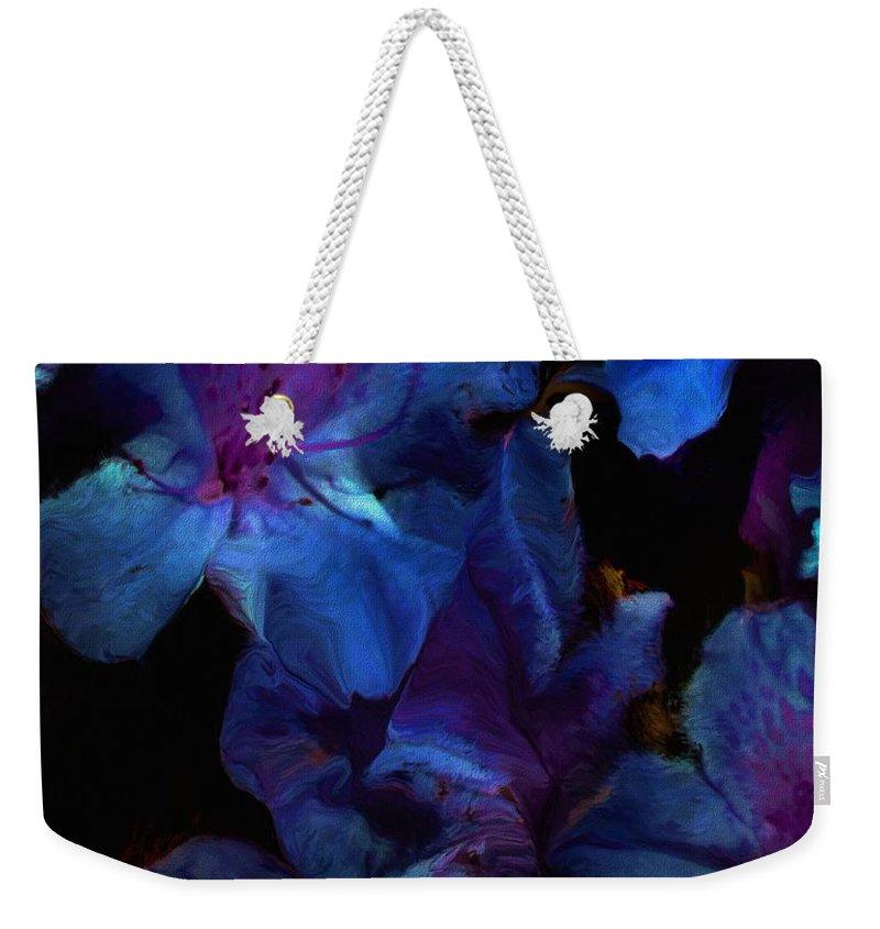 Floral Weekender Tote Bag featuring the digital art Blue Floral Fantasy by David Lane