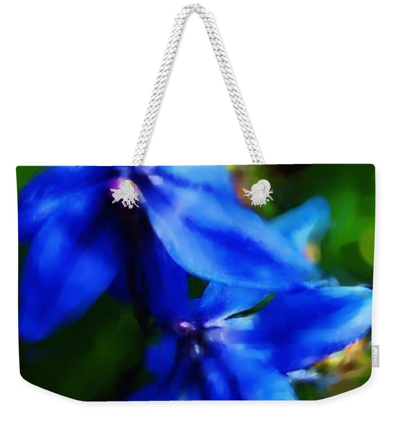 Digital Photograph Weekender Tote Bag featuring the photograph Blue Flower 10-30-09 by David Lane