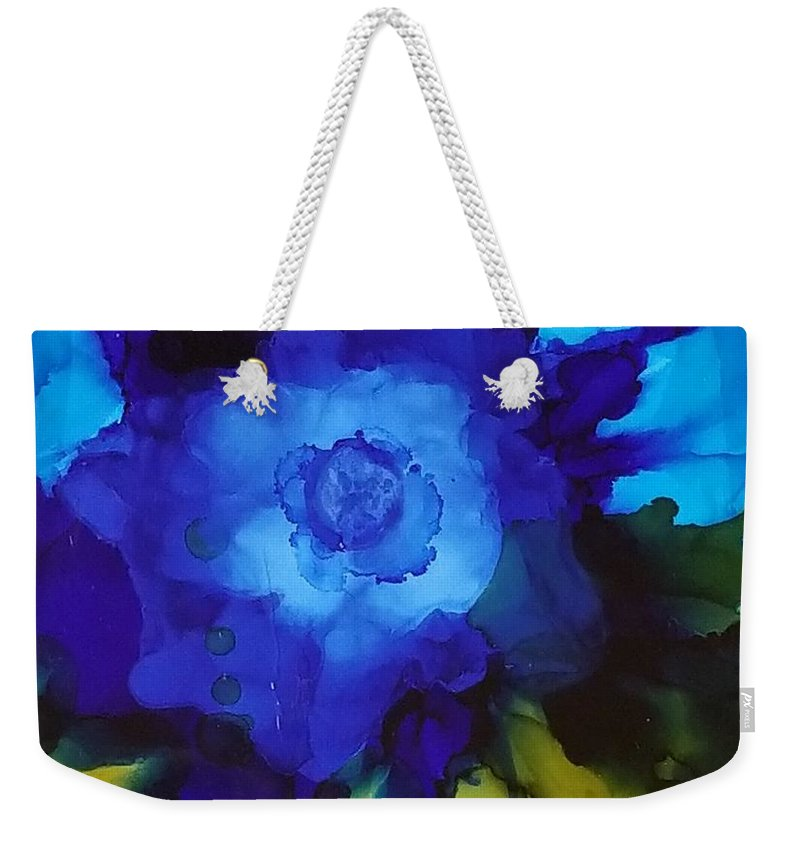 Abstract Weekender Tote Bag featuring the painting Blue Flower by Donna Perry