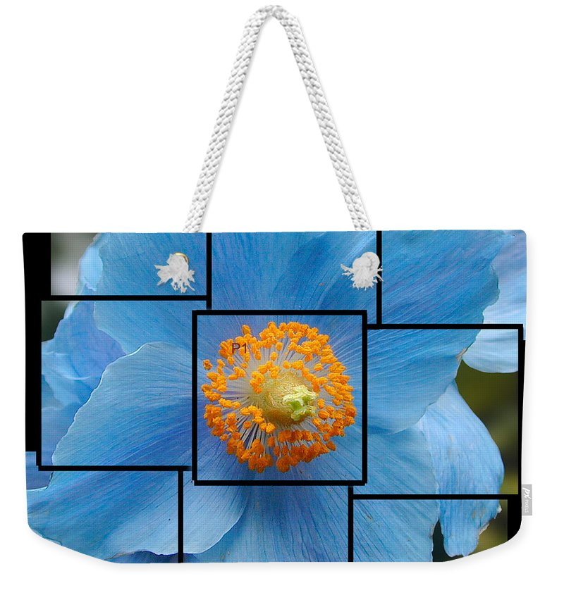 Blue Weekender Tote Bag featuring the sculpture Blue Flower Photo Sculpture Butchart Gardens Victoria BC Canada by Michael Bessler