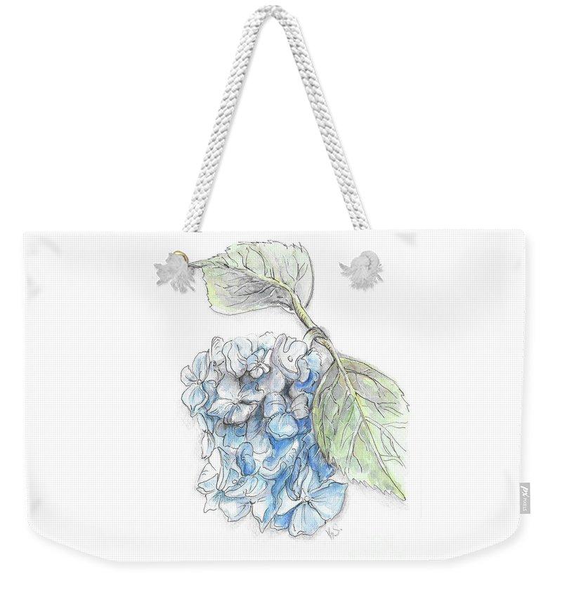 Flower Weekender Tote Bag featuring the painting Blue Flower by Yana Sadykova
