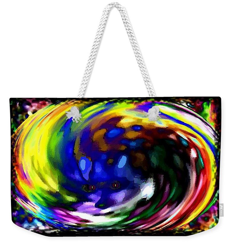 Abstract Weekender Tote Bag featuring the digital art Blue Fox by Will Borden
