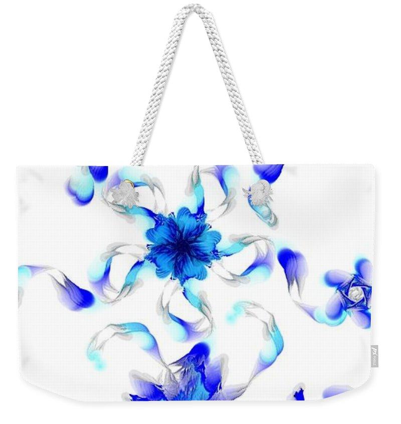 Digital Photograph Weekender Tote Bag featuring the digital art Blue Fractal Flowers by David Lane