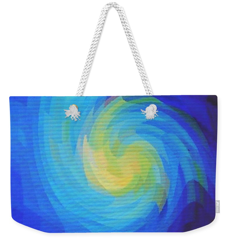 Blue Weekender Tote Bag featuring the digital art Blue Galaxy by Ian MacDonald