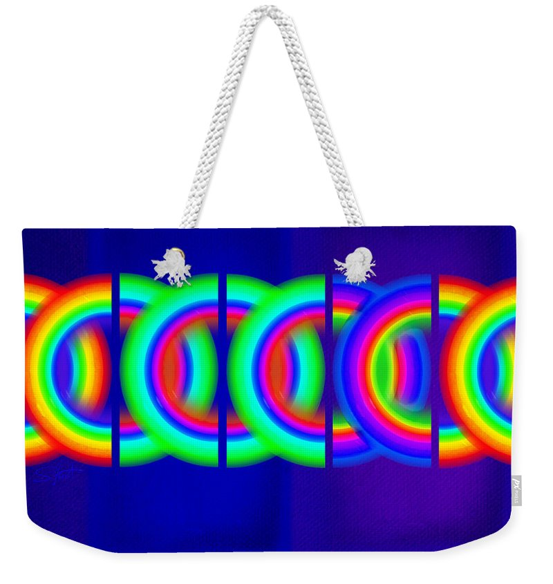 Abstract Weekender Tote Bag featuring the painting Blue Games by Charles Stuart