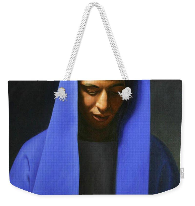 Weekender Tote Bag featuring the painting Blue by Gary Hernandez