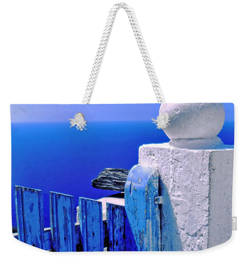 Blue Weekender Tote Bag featuring the photograph Blue Gate by Silvia Ganora
